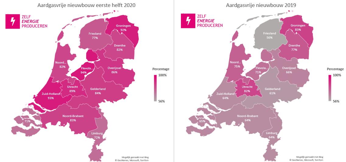 Nieuwbouwwoningen op aardgas 2019 vs 2020