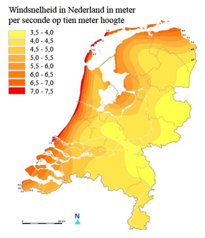 windkaart Nederland 10 meter hoogte